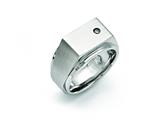 Chisel Stainless Steel Polished And Brushed CZ Signet Ring style: SR394
