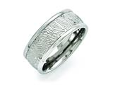 <b>Engravable</b> Chisel Stainless Steel Polished 9mm Textured Rounded Edge Ring style: SR395