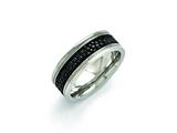 <b>Engravable</b> Chisel Stainless Steel Polished Grooved/genuine Stingray Textured  8mm Ring style: SR399