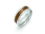 <b>Engravable</b> Chisel Stainless Steel Polished Wood Inlay Enameled 8.00mm Ring style: SR400