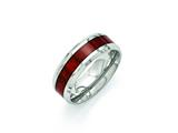 <b>Engravable</b> Chisel Stainless Steel Polished Red Wood Inlay Enameled 8.00mm Ring style: SR402