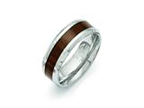 <b>Engravable</b> Chisel Stainless Steel Polished Brown Wood Inlay Enameled 8.00mm Ring style: SR403