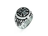 Chisel Stainless Steel Polished/antiqued And Black Ip-plated Ring style: SR416
