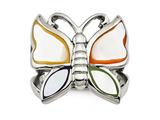 Chisel Stainless Steel Polished And Enameled Shell Butterfly Ring style: SR433