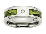 Chisel Stainless Steel Polished W/ CZ Printed Green Camo Under Rubber Wedding Band style: SR451