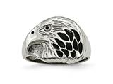 Chisel Stainless Steel Polished Black Enameled Eagle Ring style: SR456