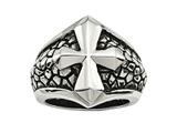 Chisel Stainless Steel Antiqued Cross and Caviar Ring style: SR458