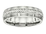 Chisel Stainless Steel Brushed W/silver D/c Inlay Ring style: SR463