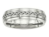 Chisel Stainless Steel Polished and Brushed W/silver Braid Inlay Ring style: SR464