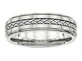 Chisel Stainless Steel Polished and Brushed W/silver Braid Inlay Ring style: SR465