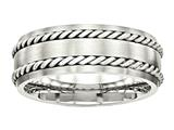 Chisel Stainless Steel Brushed W/silver Double Twist Inlay Ring style: SR466