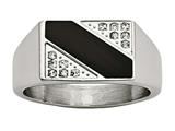 Chisel Stainless Steel Polished Black Enameled CZ Signet Ring style: SR476