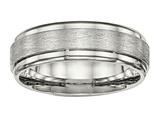 <b>Engravable</b> Chisel Stainless Steel Brushed And Polished Ridged Edge Ring style: SR491