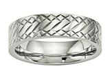 Chisel Stainless Steel Polished Textured Ring style: SR495