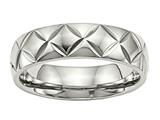 Chisel Stainless Steel Polished Diamond Cut Ring style: SR497