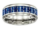 Chisel Stainless Steel Polished Blue/white Carbon Fiber Inlay Ring style: SR503