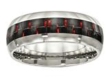 Chisel Stainless Steel Polished Black/red Carbon Fiber Inlay Ring style: SR504