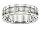 <b>Engravable</b> Chisel Stainless Steel Polished And Brushed Grooved CZ Ring style: SR508