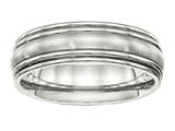 Chisel Stainless Steel Brushed And Polished Ridged 7.00mm Wedding Band style: SR510
