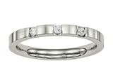 Chisel Stainless Steel Polished 3 Stone CZ 2.50mm Weeding Band style: SR515