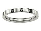Chisel Stainless Steel Polished 3 Stone Black CZ 2.50mm Wedding Band style: SR516