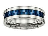 <b>Engravable</b> Chisel Stainless Steel Polished Blue Ip-plated 8.00mm Weeding Band style: SR517