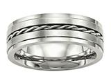 <b>Engravable</b> Chisel Stainless Steel Brushed And Polished Twisted 7.00mm Wedding Band style: SR519