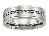 Chisel Stainless Steel Brushed And Polished Twisted 7.00mm Wedding Band style: SR520