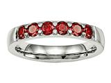 Chisel Stainless Steel Polished Red CZ 4.00mm Weeding Band style: SR527