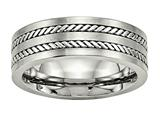 Chisel Stainless Steel Brushed And Polished Twisted 7.00mm Wedding Band style: SR528