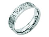 <b>Engravable</b> Chisel Stainless Steel Engraved Trinity Symbol Brushed 6mm Wedding Band style: SR52