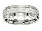Chisel Stainless Steel Brushed And Polished Hammered 7.50mm Wedding Band style: SR530