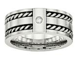 Chisel Stainless Steel Antiqued And Brushed With CZ Twisted 9.00mm Weeding Band style: SR533
