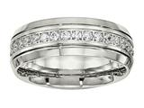 <b>Engravable</b> Chisel Stainless Steel Polished Half Round Grooved CZ Ring style: SR534