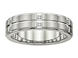 Chisel Stainless Steel Brushed And Polished Grooved/ridged Edge CZ Ring style: SR535