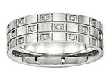 Chisel Stainless Steel Brushed Grooved CZ Ring style: SR541