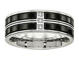 Chisel Stainless Steel Polished Black Ip Plated CZ Weeding Band style: SR548
