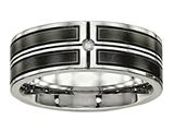 Chisel Stainless Steel Brushed And Polished Black Ip Plated CZ Weeding Band style: SR549