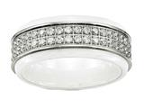 Chisel Stainless Steel Polished White Ceramic CZ Ridged Edge Ring style: SR565