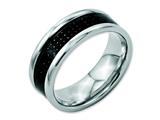 <b>Engravable</b> Chisel Stainless Steel Black Carbon Fiber 8mm Polished Weeding Band style: SR56