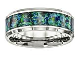 "<b>Engravable</b> Chisel Stainless Steel Polished With Blue Imitiation Opal 8mm Men""s Ring style: SR570"