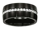 Chisel Stainless Steel Brushed And Polished Black Ip CZ Ring style: SR572