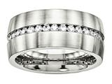 <b>Engravable</b> Chisel Stainless Steel Brushed And Polished CZ Ring style: SR573