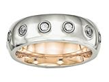 <b>Engravable</b> Chisel Stainless Steel Polished Rose Ip CZ Half Round Ring style: SR575