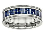 <b>Engravable</b> Chisel Stainless Steel Polished W/ Blue Carbon Fiber Textured Edge Ring style: SR578