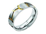 <b>Engravable</b> Chisel Stainless Steel Grooved Yellow Ip-plated Ladies 6mm Brushed Weeding Band style: SR57