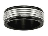 Chisel Stainless Steel Polished Black Ip Grooved Ring style: SR582