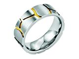 Chisel Stainless Steel Grooved Yellow Ip-plated Mens 8mm Brushed Weeding Band style: SR58