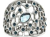 Chisel Stainless Steel Polished Blue Glass And Preciosa Crystal Ring style: SR592