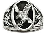 Chisel Stainless Steel Polished Enameled Eagle Ring style: SR595
